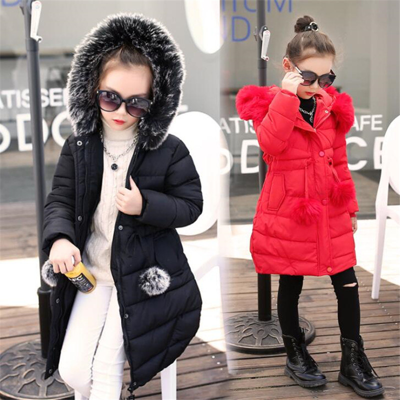Girls winter 2018 new fashion big boy little girl thick cotton coat