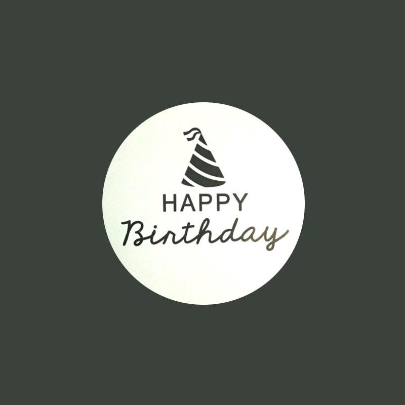 feliz aniversário redondo adesivos de vedação dois