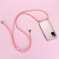 Lujosa funda de silicona para teléfono con cordón para Samsung Galaxy S20 S10 E 5G S9 S8 Note 20 10 9 8 Lite Plus, funda ultrafina con cordón para collar