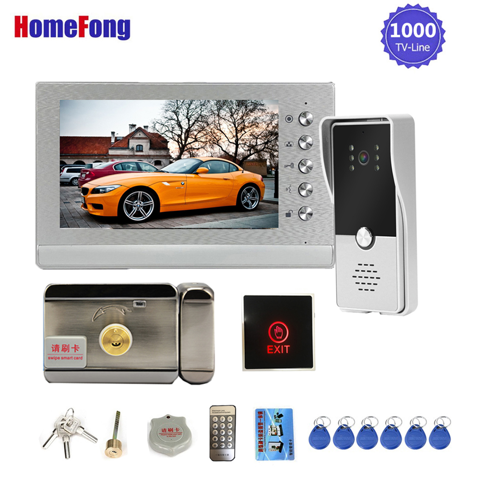 Homefong 7 Inch Video Intercom With Lock Video Door Phone Door Release Exit Button 3A Power For Door Access Control