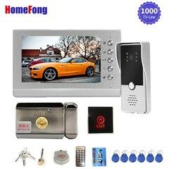 Homefong 7 Cal wideodomofon z blokadą drzwi wideo telefon drzwi zwolnienie przycisk wyjścia 3A moc kontrola dostępu do drzwi