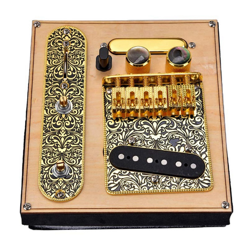 6 Strings Saddle Bridge Plate, 3 Way Switch Control Plate, <font><b>Neck</b></font> Pickup Set for Fender TL <font><b>Telecaster</b></font> Electric <font><b>Guitars</b></font> Replacement image