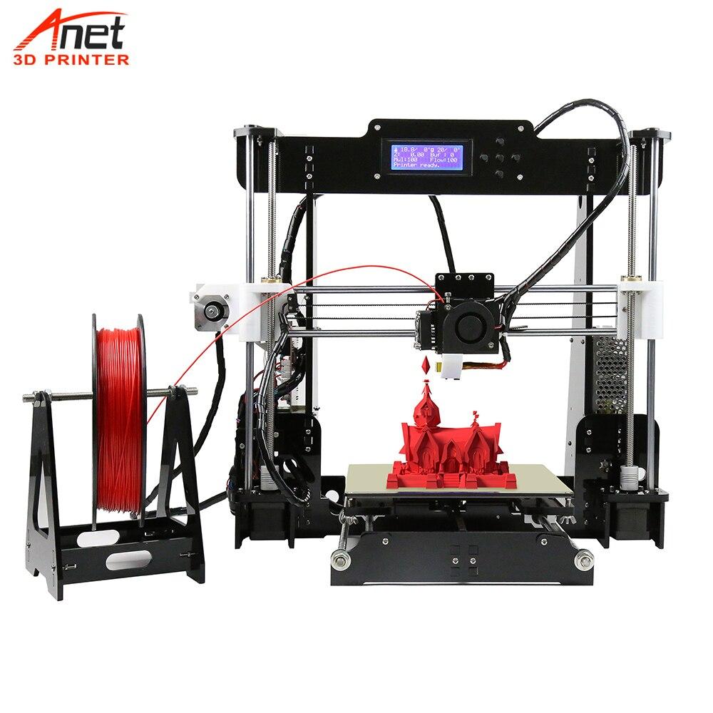 Venda quente Do Competidor Anet A6 A8 3D Impressora Reprap Prusa i3 Alta Precisão DIY Kit Impressora 3D Com Micro SD conector USB cartão