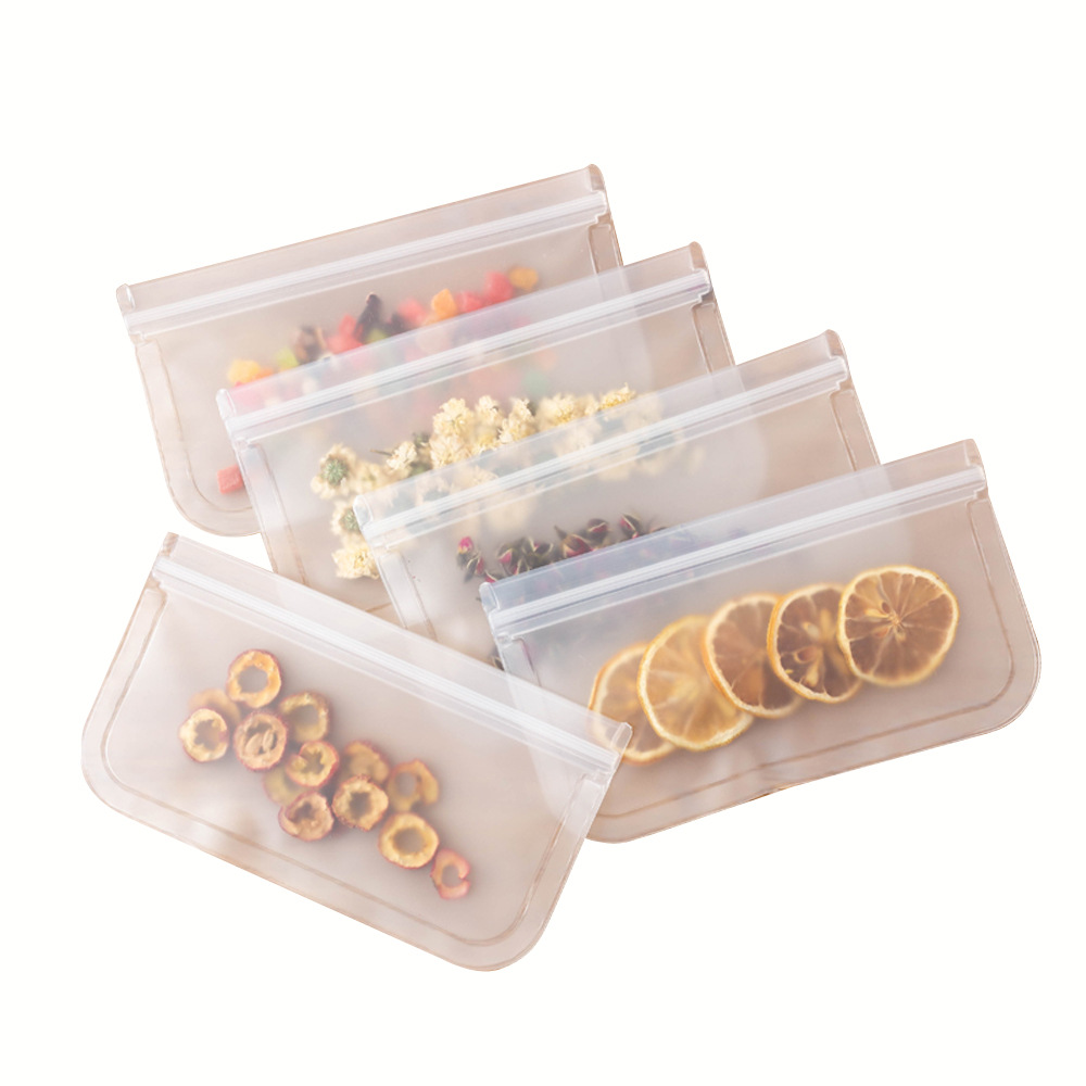 1 PCS Silicone Vacuum Sealed Food Storage Bag Repeatable Fruit Meat Refrigerator Fresh-keeping Bag Self-sealing Storage Bag
