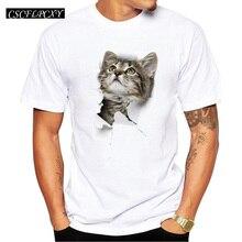 3D Cute Cat Men T-shirt Short Sleeve Casual Tee Funny Cat Pr