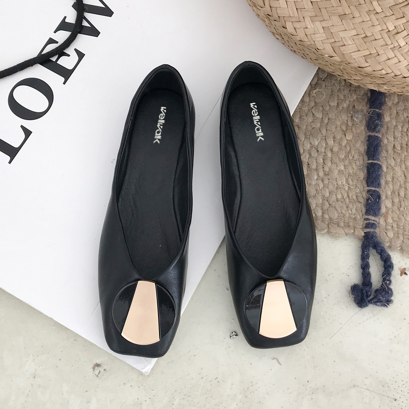 Brand Buckle Ballerians Women Flat Shoes Square Toe Foldable Ladies Slip On Non-Leather Ballet Flats Female Shallow Mouth 2019