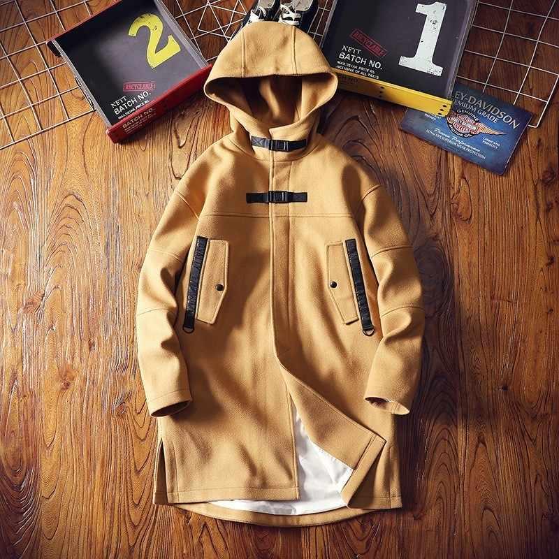 Moda coreana comprimento médio com capuz dos homens trench coats inverno manga longa solto ajuste casual masculino outerwear overcoats plus size 5xl