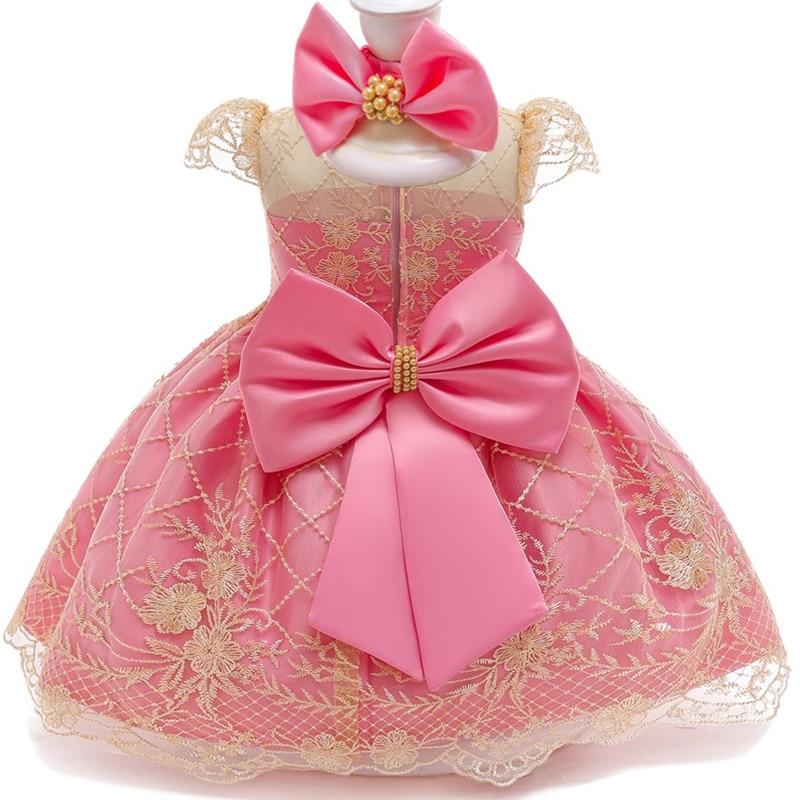 Dentelle robe de princesse bébé filles 1 2 ans fête d'anniversaire tenues nouveau-né 2nd robe de baptême enfant en bas âge ensembles de vêtements de noël