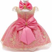 Vestido de princesa de encaje para niñas de 1 a 2 años trajes de fiesta de cumpleaños para recién nacidos, 2 ° vestido de bautizo, conjuntos de ropa de Navidad para niños pequeños