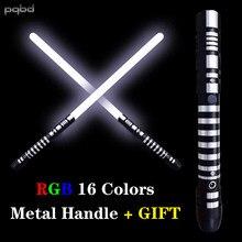 Pqbd sabre de luz rgb 16 cores metal destacável espada personalizado ultra sabre luminoso led luz brinquedo das crianças presentes cosplay
