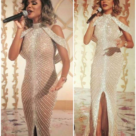 Yousef Aljasmi Front Slit Champagne Evening Dresses Robe Longue Luxury Crystal Sexy Mermaid Prom Dresses High Neck Vestidos De G