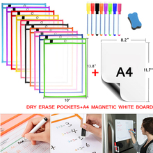 Bags Dry-Erase-Pockets Magnet-Markers Whiteboard Teaching-Supplies Classroom Write-Wipe