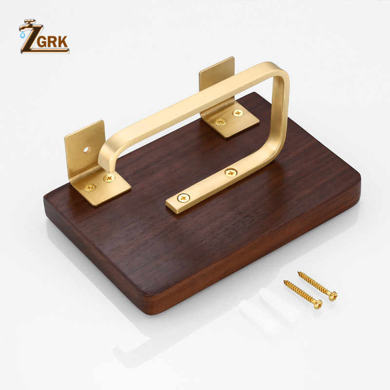 ZGRK Multi-funzione di Doppio supporto di carta Igienica da parete moounted Del telefono Mobile rack di legno di noce nero Bagno creativo porta rotolo
