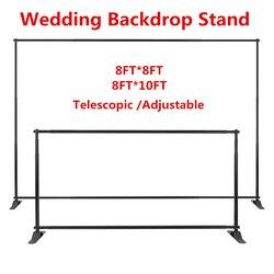 10/8FT Hoge Bruiloft Achtergrond Pijp/Stand Met Zware Voet Telescopische Verstelbare Gordijn Frame Foto Banner Achtergrond Stand