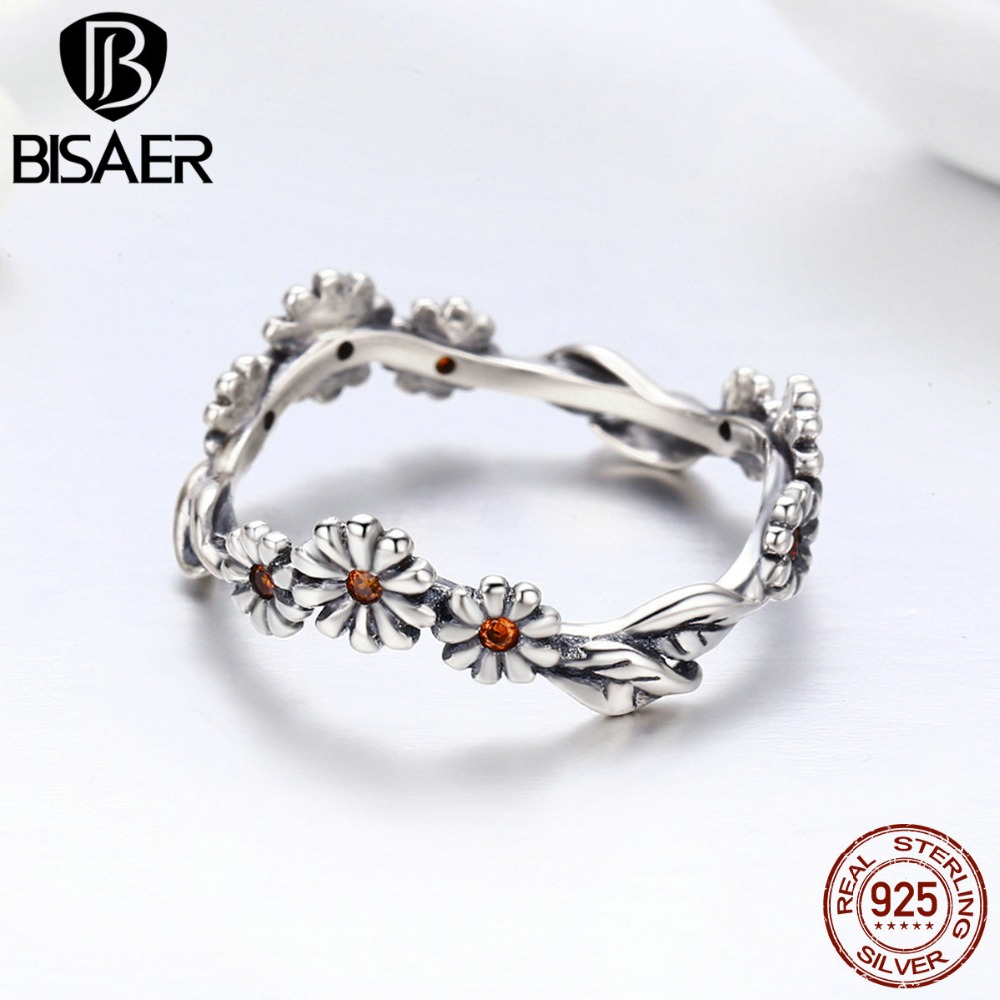 Fashion Rings For Women 2019 BISAER 925 Sterling Silver Daisy Flower Finger Rings For Women Sterling Silver 925 Jewelry Anel