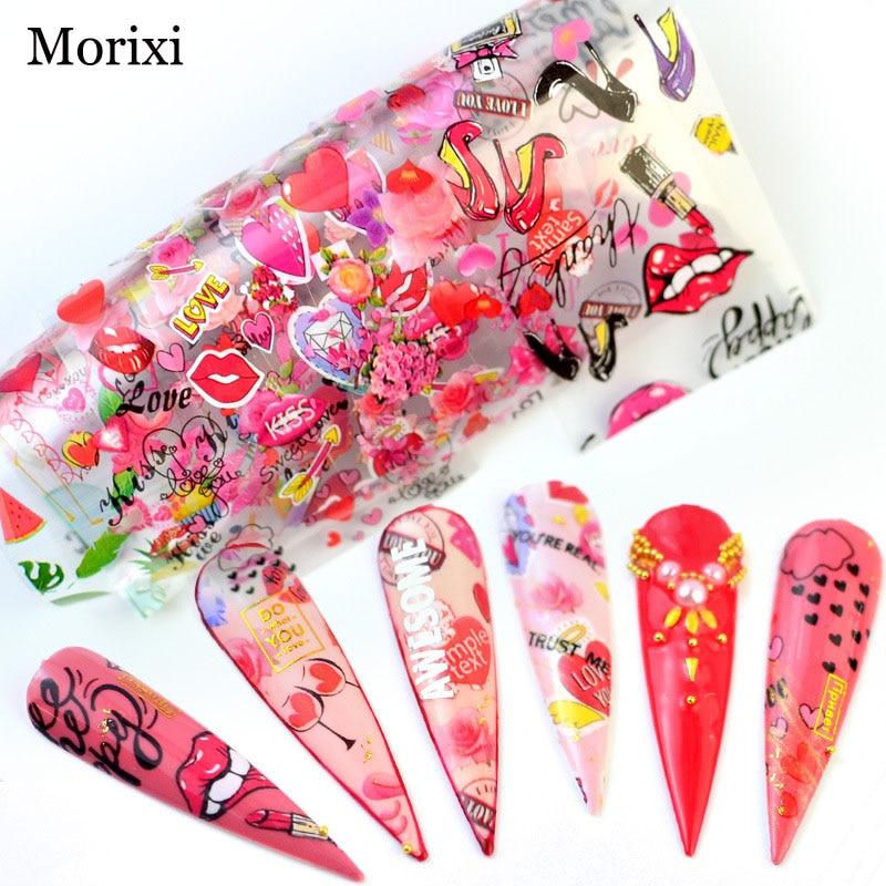 Купить наклейки для ногтей morixi 10 шт фольга с горячей передачей