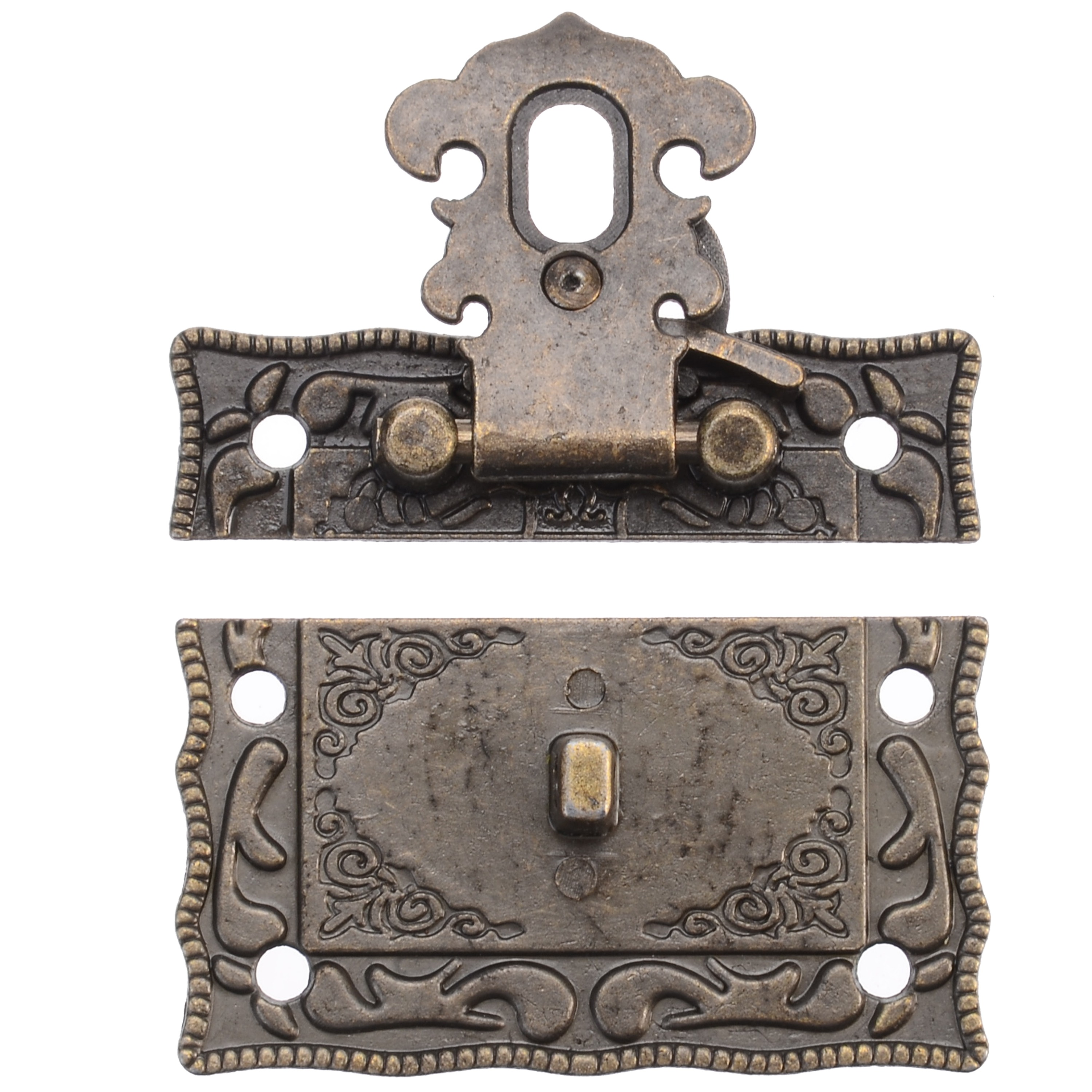 1Pc Iron Antique Jewelry Wooden Box Decorative Latch Hasp For Various Furniture Hardware Toggle Lock Security Safes Hasps