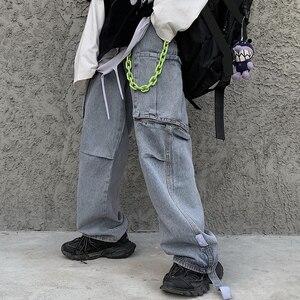 Свободные мешковатые джинсы оверсайз Женская карго сторона уличная одежда с карманом джинсовые брюки хип-хоп Харадзюку Свободные шаровары...