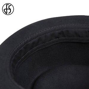 Image 5 - FS Vintage porc tarte chapeau hommes à large bord laine feutre Fedora noir chapeau Mans église Jazz ruban Trilby Panama Gangsters casquettes