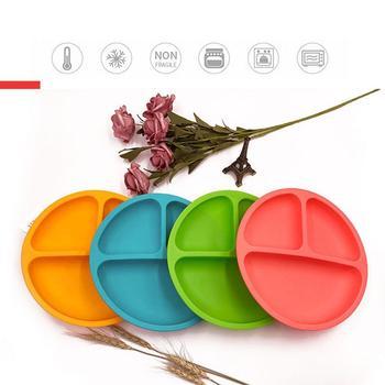 Baby Silicone Dining Dish Tableware Food Storage Fruit Plates Kids Feeding Bowls Anti-Drop Tray