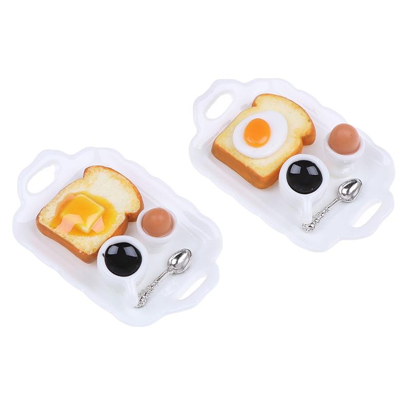 1:12 Dollhouse Miniature Breakfast Set Hamburger Croissant Toast Egg Coffee With Tray Kitchen Food Accessories