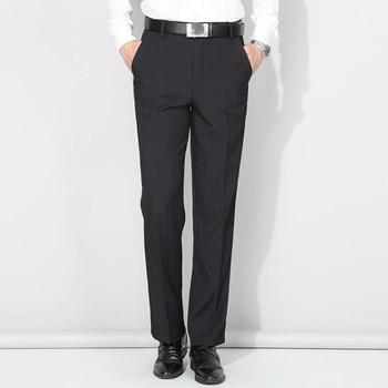 Men Slim Fit Suits Pants Summer Style Smart Casual Dress Pants Men High Waist Cotton Straight Long Pants Office Business Pants