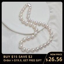 ASHIQI 10 12mm büyük doğal tatlı su incisi kolye gerçek 925 ayar gümüş toka beyaz yuvarlak inci takı kadınlar hediye için