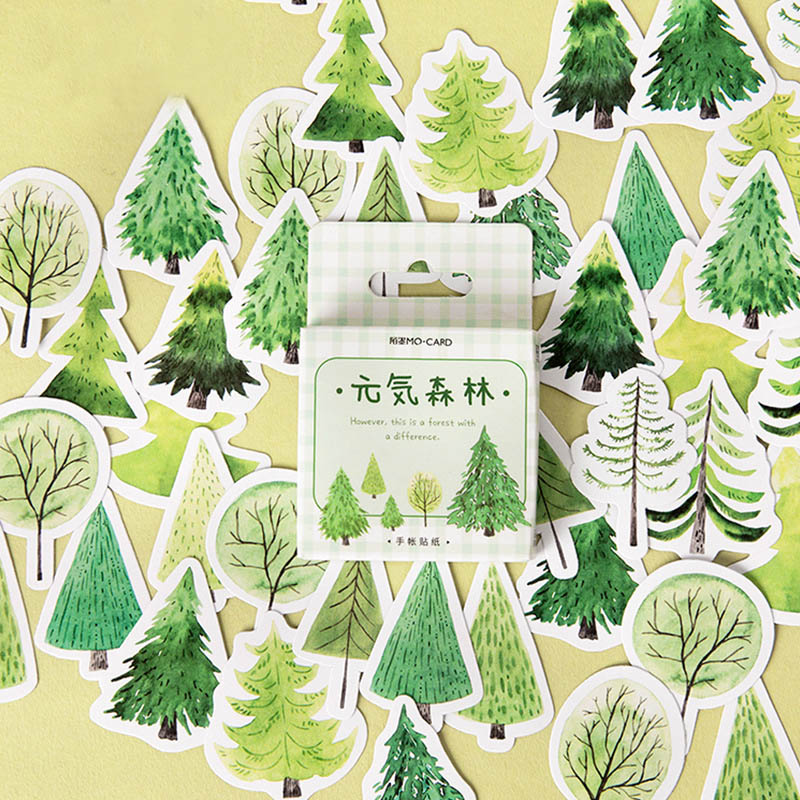 45Pcs/Box GreenTree Stickers Forest Stickers Paper Adhesive Sticker For Kids DIY Decor Scrapbooking Diary Albums Supplies