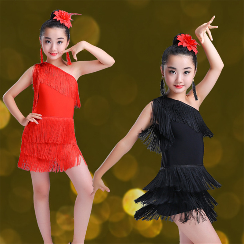 2color Modern Girl Latin Dance Dress For Girls Salsa Dress Ballroom Dancing Dress Girl Competition Dancewear Kids Dance Costumes