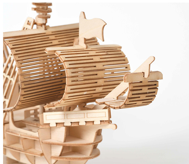 Image 2 - Fancy DIY Sailing Ship Toys 3D Wooden Puzzle Toy Assembly Model Wood Craft Kits Desk Decoration Toys for Children Kids Gift-in Wooden Blocks from Toys & Hobbies
