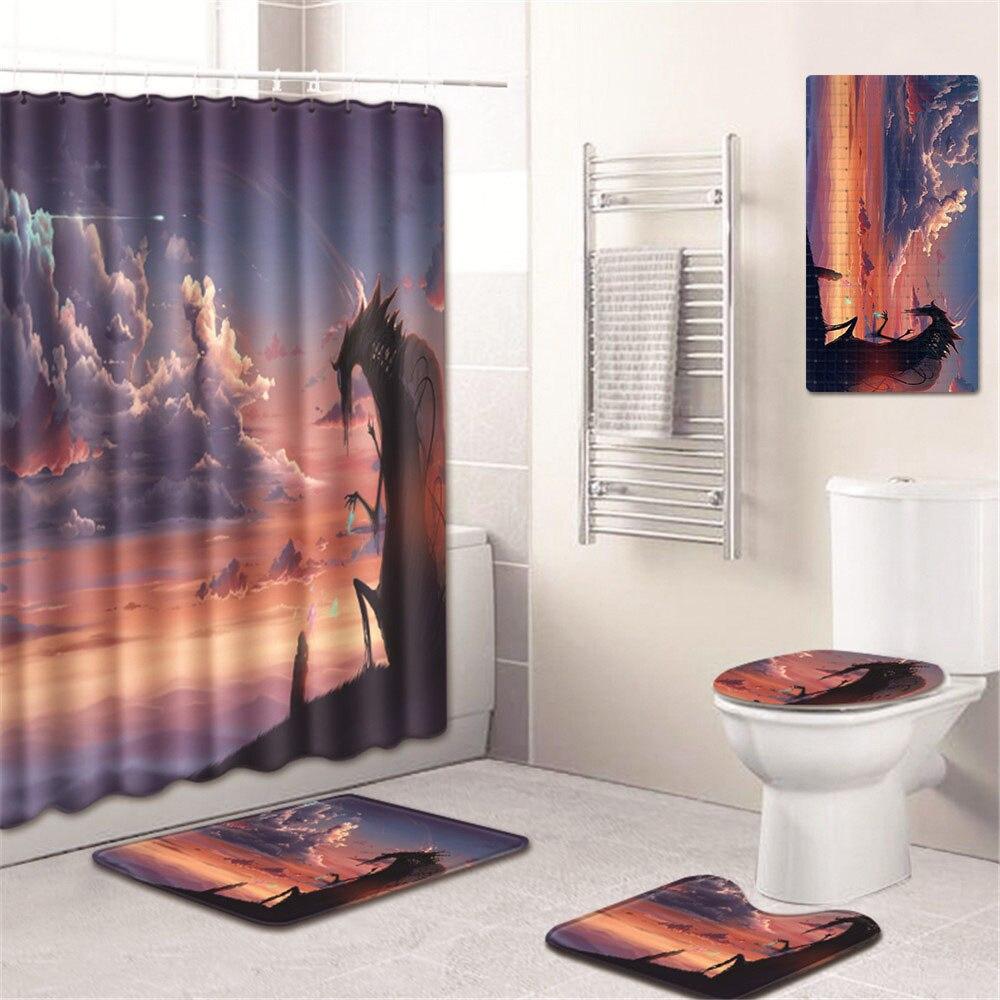 5 шт./компл. 3D Шторки для душа с принтом для ванны водонепроницаемый из полиэстера Современный ПВХ на нескользящей подошве для ванной коврик ... - 6
