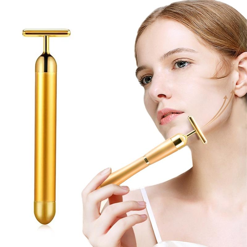 24K золотой массажер для лица, массажные Инструменты для лица, карандаш для лица, утягивающий, подтягивающий, инструмент для красоты