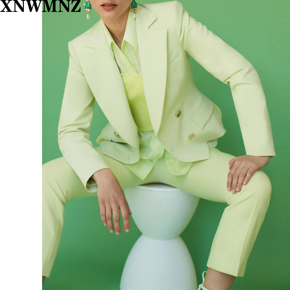 Za Women Suit and Ankle Length Pant Autumn 2020 New Fashion Blazer Capris Office Lady 2 Pieces Set XNWMNZ
