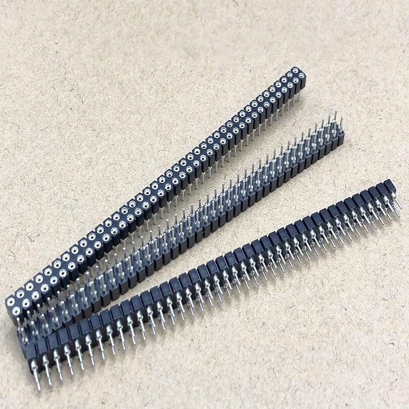 5 шт./лот 2x40 Pin двойное отверстие женский круглый штыревой разъем 2,54 мм полоса разъем 2*40p разъем