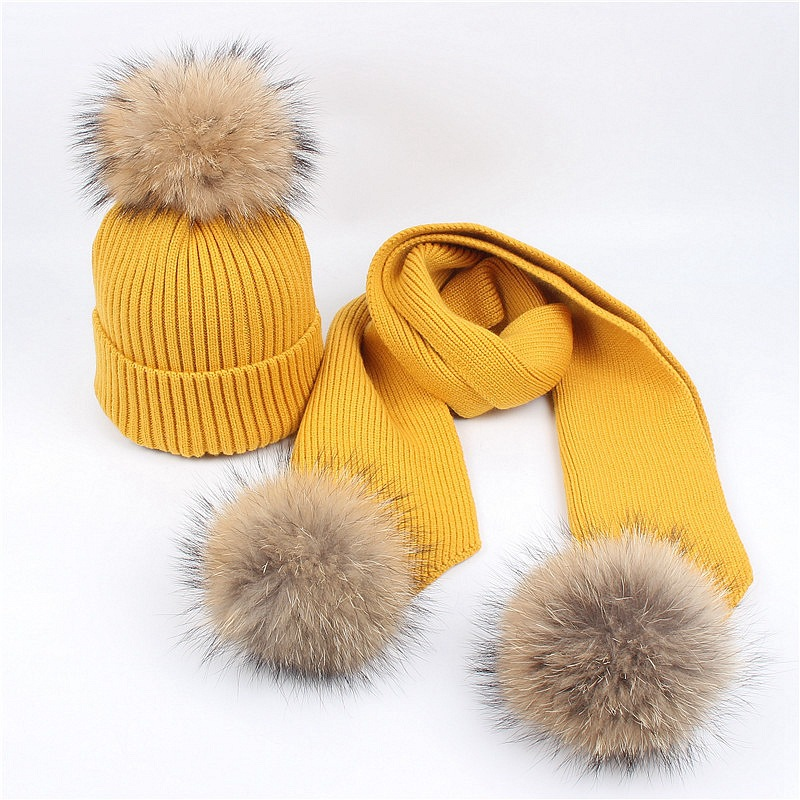 Parent-child Winter Luxury  Wool Knitted Hat Scarf Sets Real Fur Pompoms Mother Kids Beanie Hats Skullies Gorro