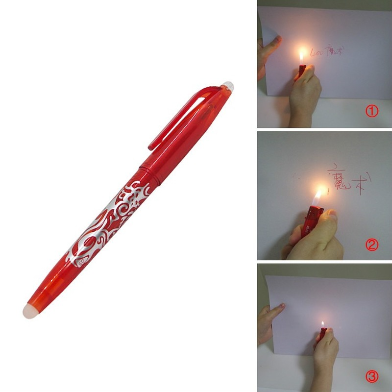 Magic Ink Flame Heating Invisible Vanish Disappear Erasable Ball Pen Magic Tricks Pen