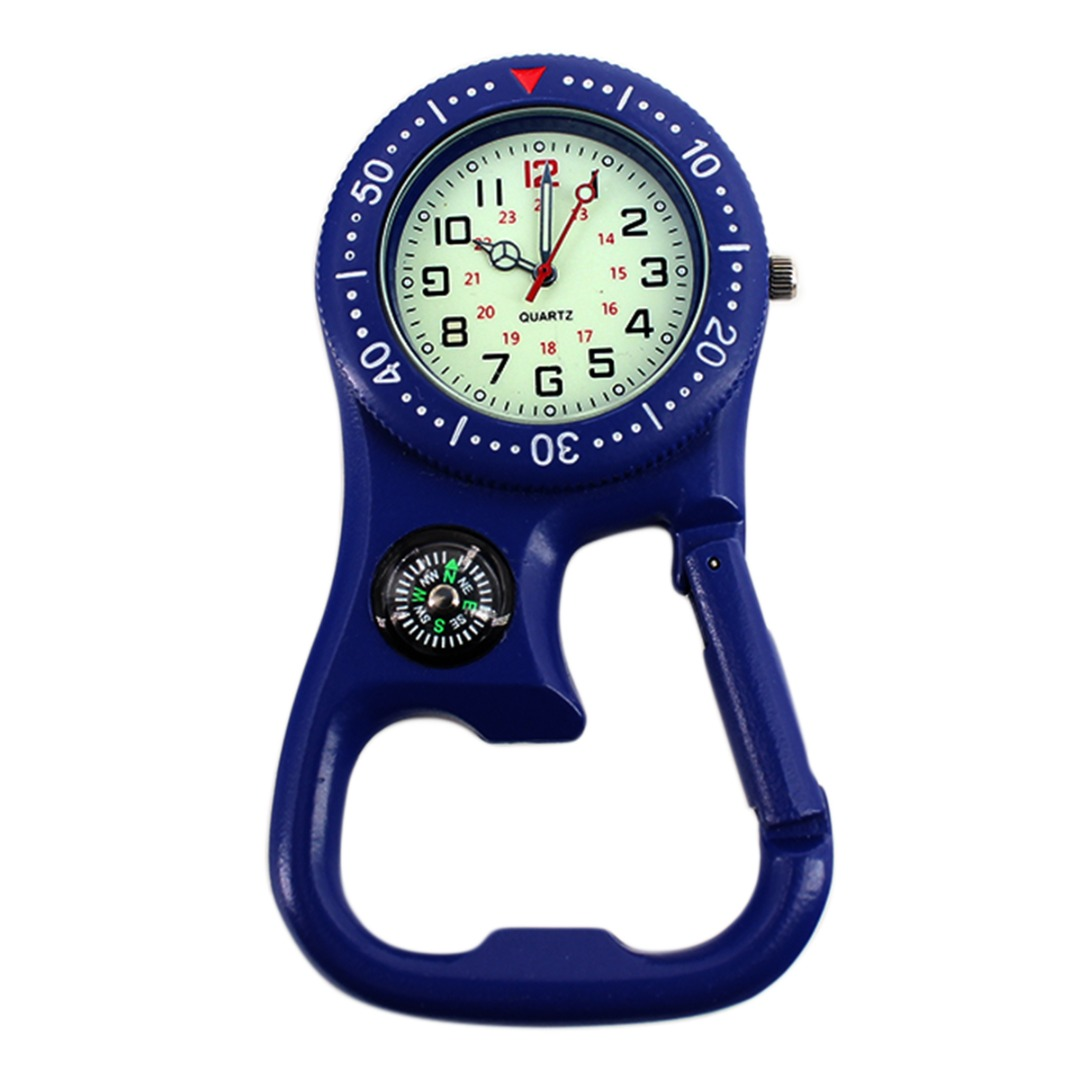 Portable Carabiner Pocket Watch Luminous Dial Outdoor Mountain Climbing Fob Watch With Compass Bottle Opener Sport Watch Clock