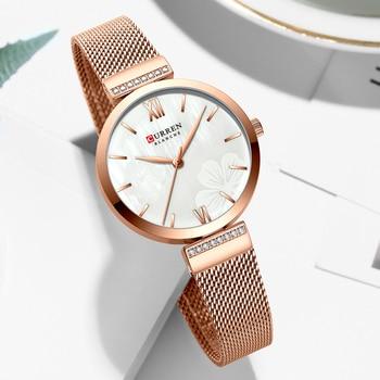 CURREN Women's Dress Watches Top Luxury Brand Ladies Quartz Watch Stainless Steel Mesh Wristwatch  Reloj Mujer Beautiful Clock - discount item  50% OFF Women's Watches