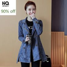 2020 New Women Double Breasted Denim Jackets Autumn Long Sleeve Streetwear Clothes Mid Long Jeans Jacket Coats Loose Fit Casual(China)