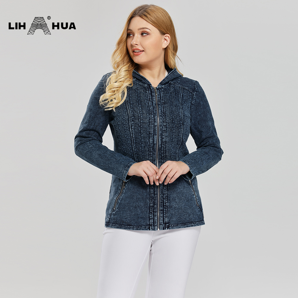 LIH HUA Women's Plus Size Casual Long Style Denim Jacket Premium Stretch Knitted DenimCcoat