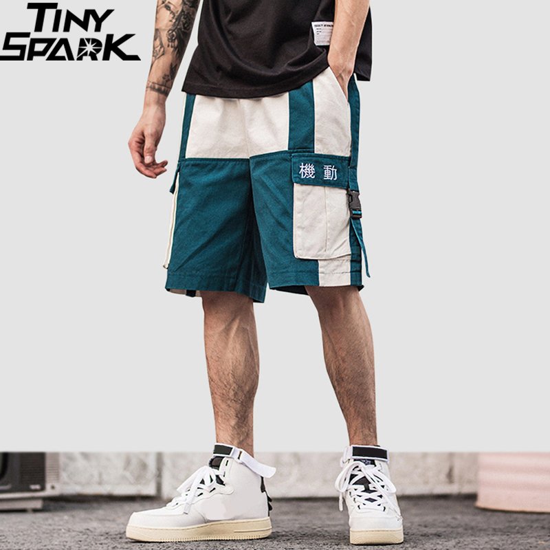 2019 Harajuku Shorts Color Block Summer Hip Hop Cargo Short Streetwear Men Jogger Short Pockets Cotton Casual Sweatpant HipHop