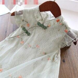Платье для девочек 2020 летнее шифоновое платье с круглым вырезом и рукавами-крылышками в китайском этническом стиле, детское платье Ципао дл...