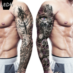 Waterproof Temporary Tattoo Large Arm Sleeve Tattoo Sticker Wild Wolf Tiger Men Full Skull Totem Tatto Waterproof Fake Tatoo Men
