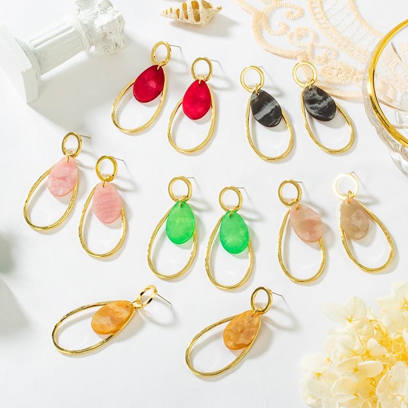 POXAM Korean Acrylic Statement Earrings for Women Vintage Geometric Gold Dangle Drop Earings 2020 Female Fashion Wedding jewelry