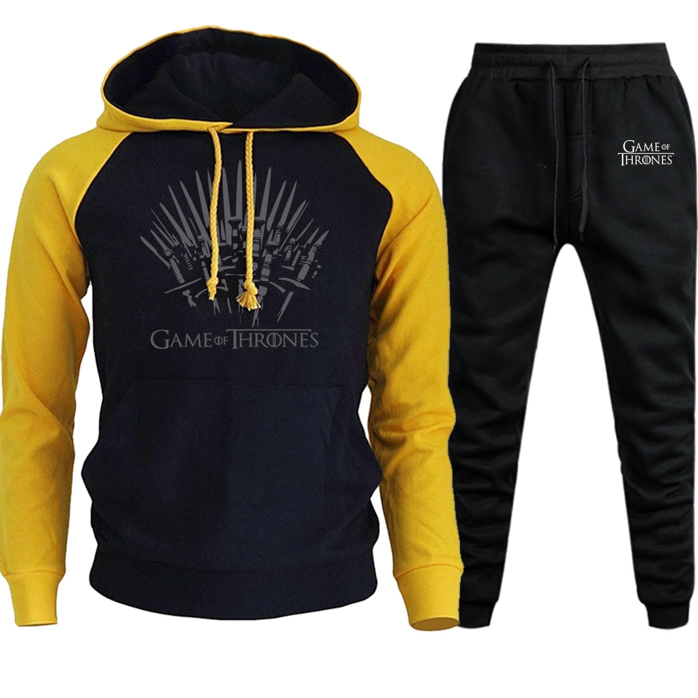 Vintage Print Hoodies Men Raglan Streetwear Autumn Winter 2019 Game Of Thrones Suit Male Hip Hop Fleece Hooded+Pants 2 Piece Set