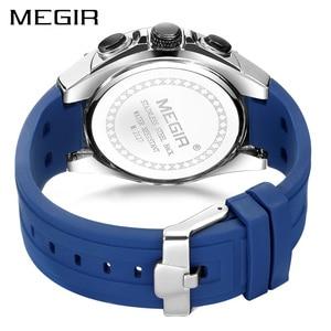 Image 4 - MEGIR גברים ספורט צפה Relogio Masculino כחול סיליקון רצועת Mens שעונים למעלה מותג יוקרה זוהר עמיד למים קוורץ שעון גבר