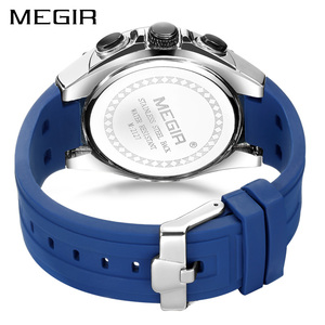 Image 4 - Megir Mannen Sport Horloge Relogio Masculino Blauw Siliconen Band Heren Horloges Top Brand Luxe Lichtgevende Waterdichte Quartz Horloge Man
