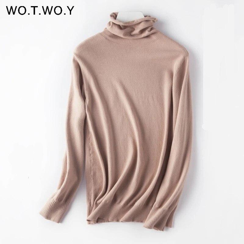 Женский свитер с высоким горлом WOTWOY, вязаный хлопковый свитер на осень и зиму 2020|Водолазки|   | АлиЭкспресс
