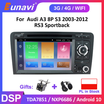 Car DVD Radio Player For Audi A3 8P 2003-2012 S3 2006-2012 RS3 2011 Multimedia 2 din Stereo Autoradio Head Unit Naviation GPS image