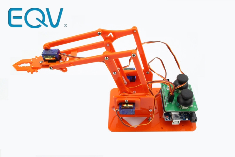 EQV 4 DOF Unassembly Acrylic Mechanical Arm Robot Manipulator Claw For Arduino Maker Learning DIY Kit Robot